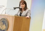 Wisconsin Lt. Governor Rebecca Kleefisch speaks at the podium at the unveiling event held on April 30, 2014