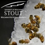 bees and UW Stout logo