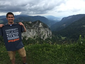 Michael Guzman hikes in Creux du Van in Switzerland during a break from his Cooperative Education job duties.