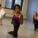 Davalois Fearon (center) rehearses with dancers Chloë Nagle, a recent BFA dance graduate, and Chelsey Becher, a sophomore in dance who spent a semester abroad in Paris (UWM Photo/Derek Rickert)