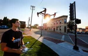 UW-Whitewater senior Mitchell Fiene controls a camera drone for some aerial pictures of downtown Whitewater on Tuesday, September 15, 2015. ©UW-Whitewater/Craig Schreiner