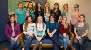 The SWE conference planning team. Pictured left to right (back row) are Tessa Janssen, Paige Black, Katie Carlson, Hannah Ihlenfeldt, Mandy Thompson, Lynsey Hanley and Kelsey Schillinger. Pictured left to right (front row) are Alyssa Whiteaker, Astrid Lavell, Amy True, Hailey Myers, Louise Lloyd and Steph Droessler (from the Professional SWE Dubuque). Not pictured: Ali Roth, Jane Beyer and Heather Hubbard.