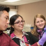 UW-Eau Claire chemistry research students working with Dr. Sanchita Hati. From left: An Nam Hodac, Dr. Sanchita Hati, Lauren Adams and Ryan Andrews.