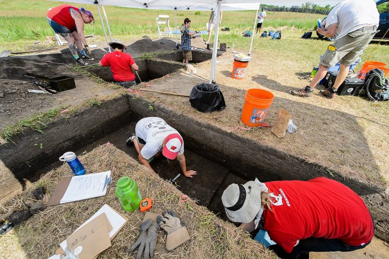 Undergraduate students in a summer session field course continue archaeology site excavation at Aztalan State Park near Lake Mills on June 10. The class and related research, led by anthropology Professor Sissel Schroeder, aims to better understand the daily lives of native people who called Aztalan home a millennium ago. PHOTO: JEFF MILLER