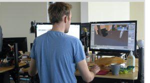 Art Director Alexander Cooney creates environments for an upcoming Filament game. Photo by David Tenenbaum