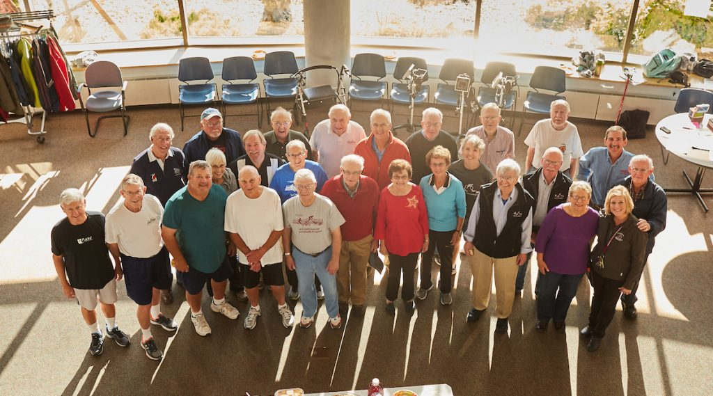 Long-term participants in the La Crosse Exercise and Health Program during an open house celebrating the program's 45 years at UW-La Crosse. Kim Radtke, program director, is pictured at bottom right. John Porcari, the previous program director, is in the back row, far right.