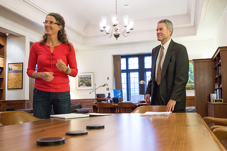 Ann Basting meets with UWM Chancellor Mark Mone after the announcement that she had been named a MacArthur Fellow. (UWM Photo/Troye Fox)
