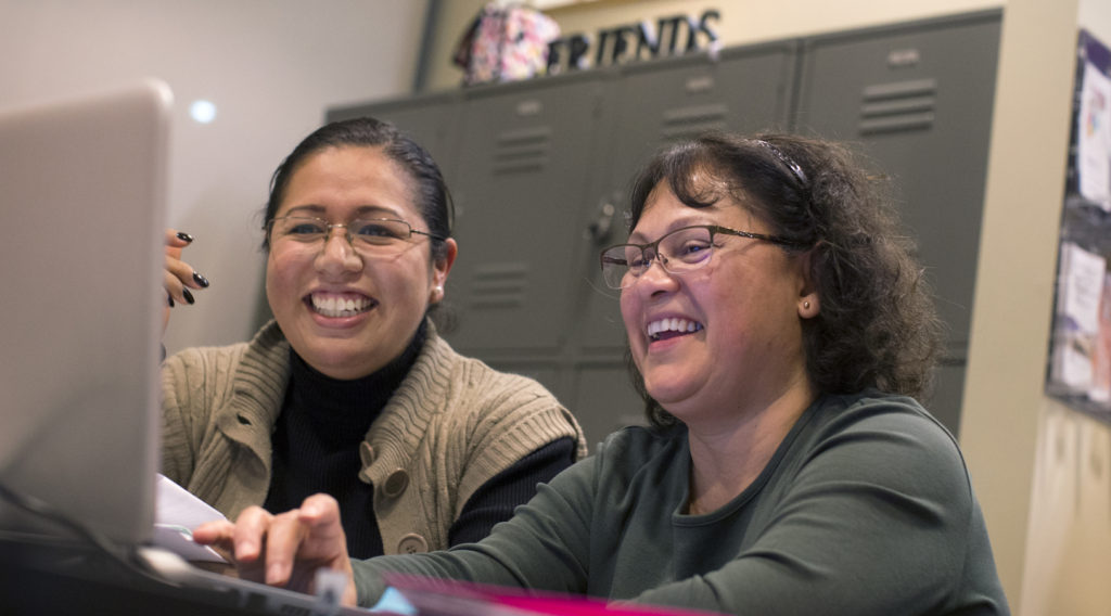 "UW-Whitewater students Rocio Aburto, left, and Adelaida Sisk work together in the ""Non-Trad Pad"" for nontraditional students in the University Center on Wednesday, Nov. 16, 2016."