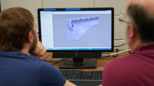 Relatively inexpensive computer software is used to transform the images of the artifact — a prehistoric fragment of pottery— into an 3D model on the computer screen, which can be moved and manipulated to see all sides and dimensions.