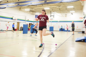 UWL Physical Therapy student Abigail Bishop says setting up a fitness program at La Crosse's Summit Elementary School has challenged her to get creative and provide variety of exercises to keep staff motivated.