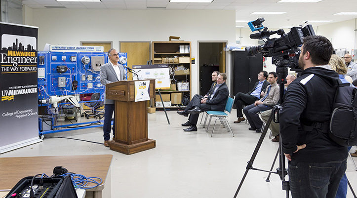 Adel Nasiri, associate dean for research and UWM professor of electrical engineering, speaks to the media at a news conference about UWM joining a partnership that aims to make the electrical grid better. (UWM Photo/Elora Hennessey)