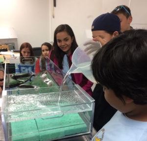 Students from the LCO Ojibwe school try an environmental science experiment in May while visiting UW-Stout.