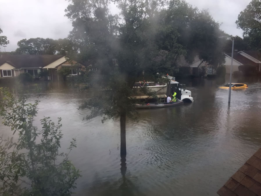 Houston flood caused by Hurricane Harvey. Photo submitted by the Finley family.