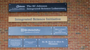 Photo of the sponsor names for the new lab