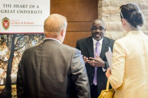 Representatives of 88 businesses visited with UW–Madison staff, including Duane Cooper (center), student services coordinator in the College of Letters & Science Internship Center. PHOTO: BRYCE RICHTER