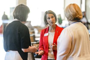 """Susan LaBelle (center), managing director of the Office of Corporate Relations, says, """"Even businesses with longstanding relationships gained a better understanding of the breadth and depth of our ability to create mutually beneficial relationships."""" PHOTO: BRYCE RICHTER"""