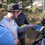 Photo of geography majors learning to use sophisticated geospatial technologies during a fieldwork class this fall thanks to partnerships with industry leaders.