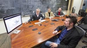 Photo of Patrick Brady, Jolien Creighton, Alan Wiseman, and Xavier Siemens, who lead UWM's LIGO team. (UWM Photo)