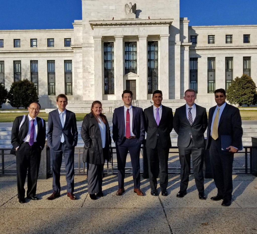 Photo of economics students from the University of Wisconsin-Whitewater, who competed against some of the world's most prestigious universities at the 14th Annual College Fed Challenge in Washington, D.C. on Dec. 1.