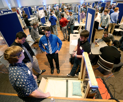 Overview photo of the STEMM Student Expo at Dec. 14, 2017, at UW-Stout featured 115 projects by more than 370 students.