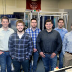 Photo of the six students who are the first UW-Stout mechanical engineer graduates, left to right, Steve Dillon, Jamison Noye, Ryan Monroe, Zachary Johnson, David Zalusky and Kevin Larson.