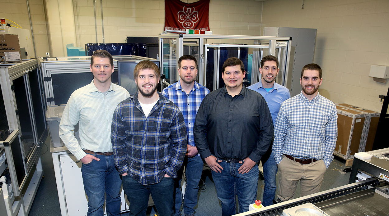 Photo of the six students who are the first UW-Stout mechanical engineering graduates, left to right, Steve Dillon, Jamison Noye, Ryan Monroe, Zachary Johnson, David Zalusky and Kevin Larson.