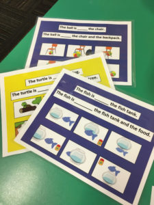Photo of a few examples of the cards used as part of the study researching children's use of prepositions.