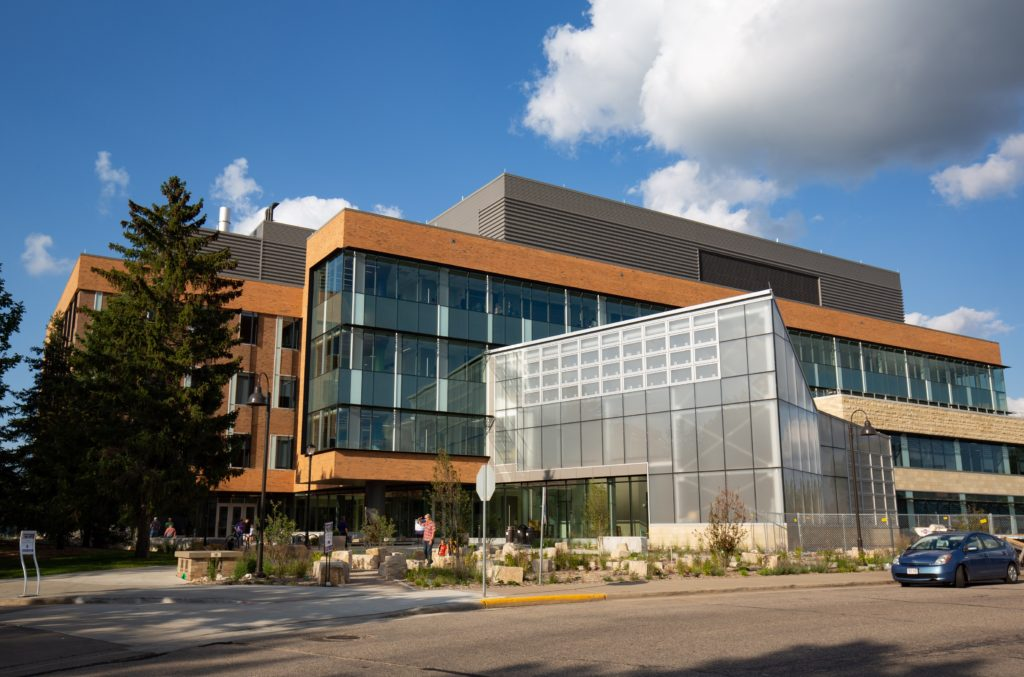 Photo of the exterior of the new UW-Stevens Point Chemistry Biology Building