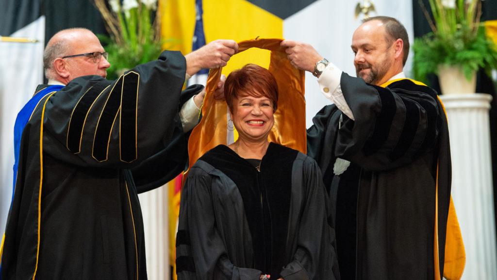 Photo of Sheila Knox, a member of the Oshkosh 94, who served on the Black Thursday Remembered committee. Knox was recognized Dec. 15 at Commencement with an Honorary Doctorate degree, in part for her work in preserving the story and legacy of the Oshkosh 94.