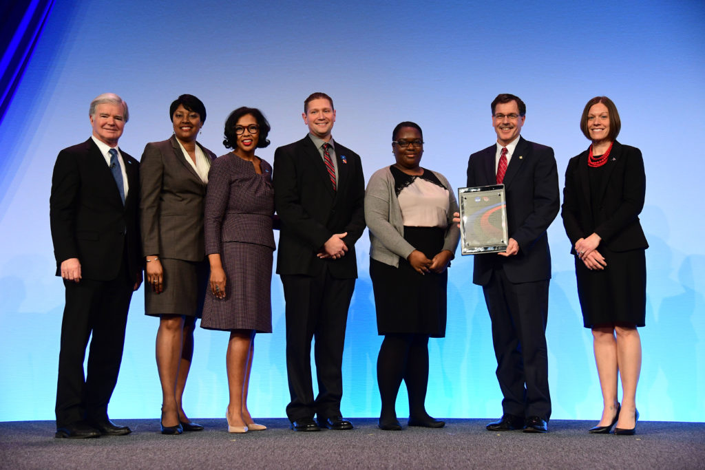 Photo of UW-River Falls Athletics being honored with the 2019 Award for Diversity and Inclusion, co-sponsored by the NCAA and Minority Opportunities Athletic Association, on Jan. 25, 2019.