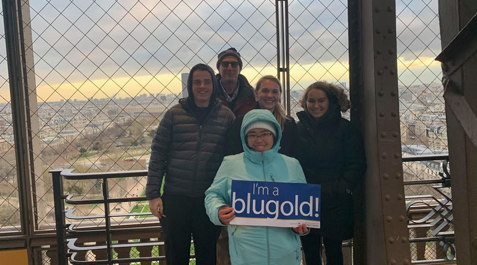 Photo of UW-Eau Claire history professor Dr. James Oberly and student researchers who traveled to Budapest to help bring to life the World War II diaries of Dr. Maria Madi.