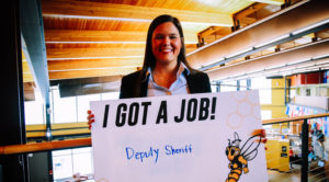 Photo of participant in UW-Superior legal studies and criminal justice programs' senior experience, celebration on May 1. This allowed the 18 graduating seniors a chance to share and celebrate their capstone experiences. Several students also talked about jobs they've found prior to graduation.