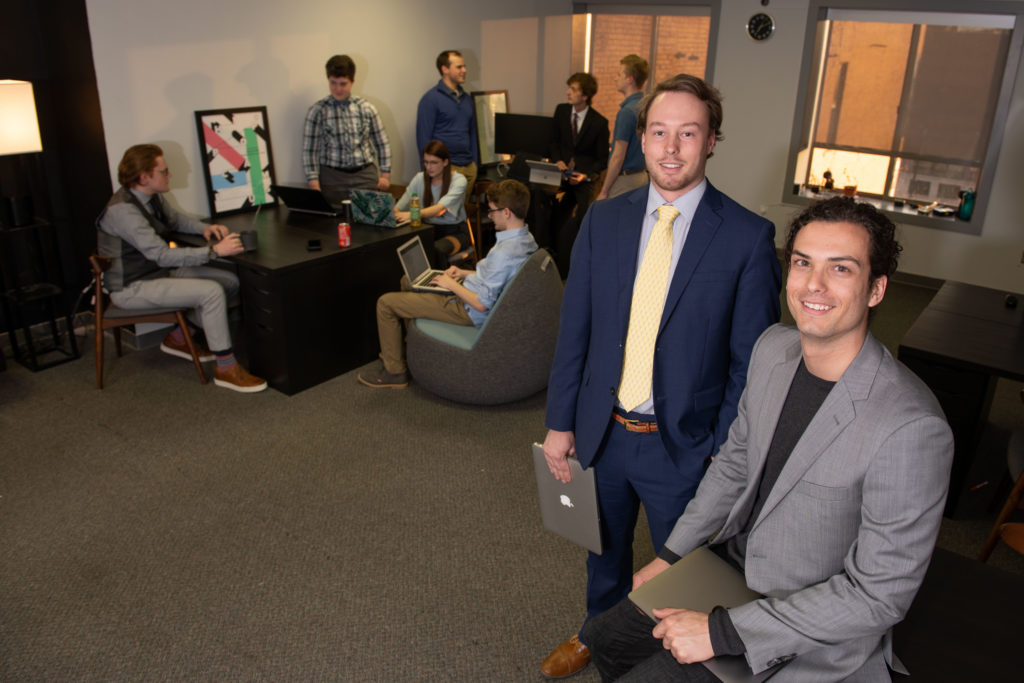 Photo of UW-Eau Claire students who have launched Clearwater Labs, a 100% student-run software consulting company in downtown Eau Claire