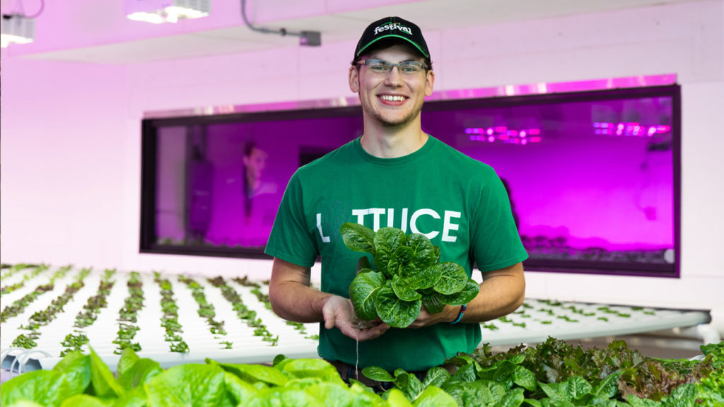 Photo of UW-Platteville student involved with starting a new hydroponics student-managed business