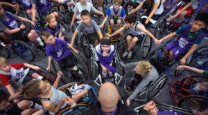 Photo of UW-Whitewater wheelchair basketball camp