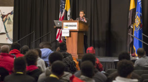 Photo of young speaker at UW-Milwaukee's Summit on Black Male Youth