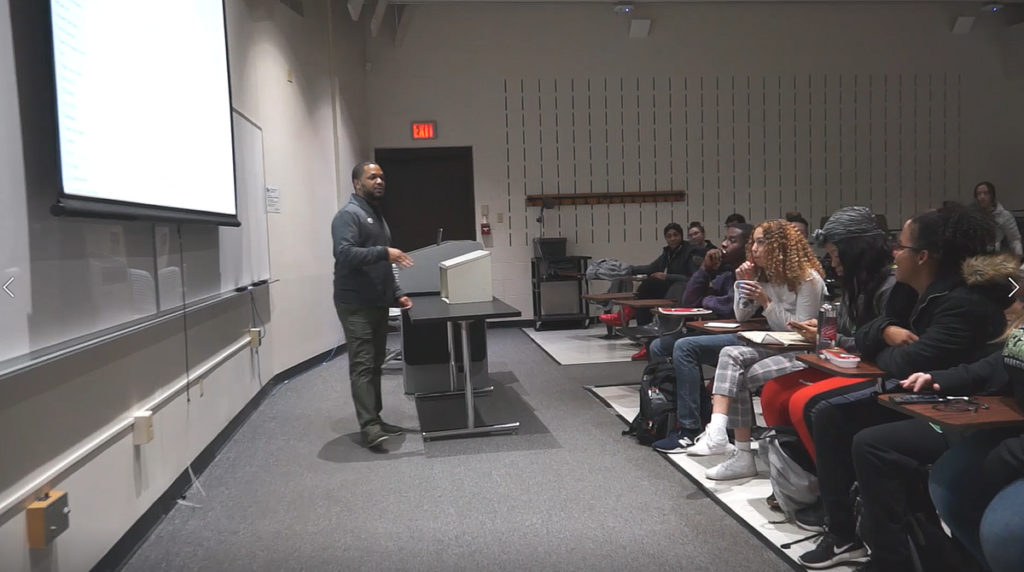 Photo of UW-Parkside alumnus Martel Pipkins returning to his alma mater to teach as a visiting sociology professor