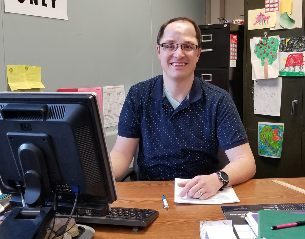 Photo of Nick Grunseth, , an Eau Claire TV meteorologist who switched careers to work with special needs teens at Chippewa Falls Senior High School.
