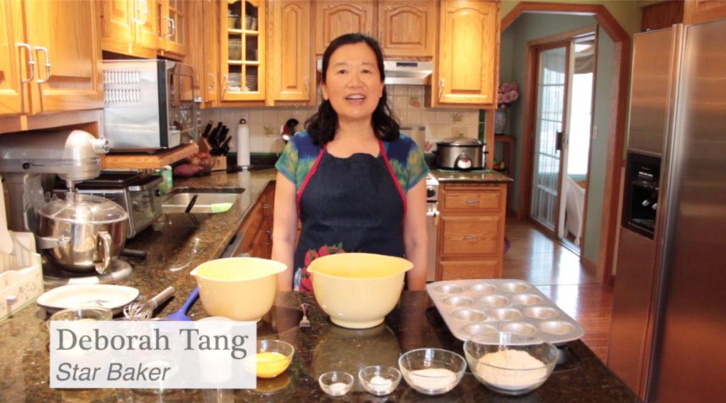 Photo of UW-Stevens Point instructor Deborah Tang, teaching cooking through online videos.