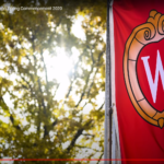 Photo of UW-Madison flag on campus