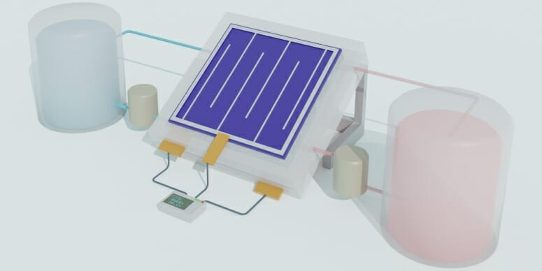 Schematic illustration of an integrated solar flow battery. A solar cell is hooked up to tanks of chemicals that can store electricity for later use. WENJIE LI