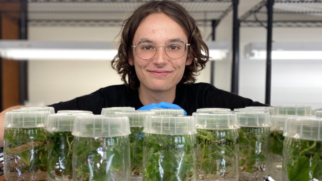Photo of Joseph Creanza, a junior soil and crop science major at the University of Wisconsin-Platteville, who scored first place at the recent 2020 Student Research and Innovation Showcase.