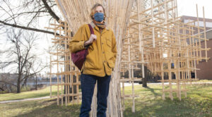 Photo of UW-Eau Claire senior Caleb Carr, who is passionate about art and feels a social responsibility to speak up about sustainability and the future of our planet.