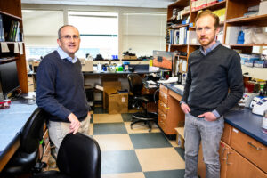 Photo of researchers David O'Connor, left, and Thomas Friedrich in a lab at UW–Madison on March 18, 2020. PHOTO: JEFF MILLER