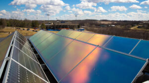 Photo of existing solar array on the rooftop of Engineering Hall at UW-Platteville.