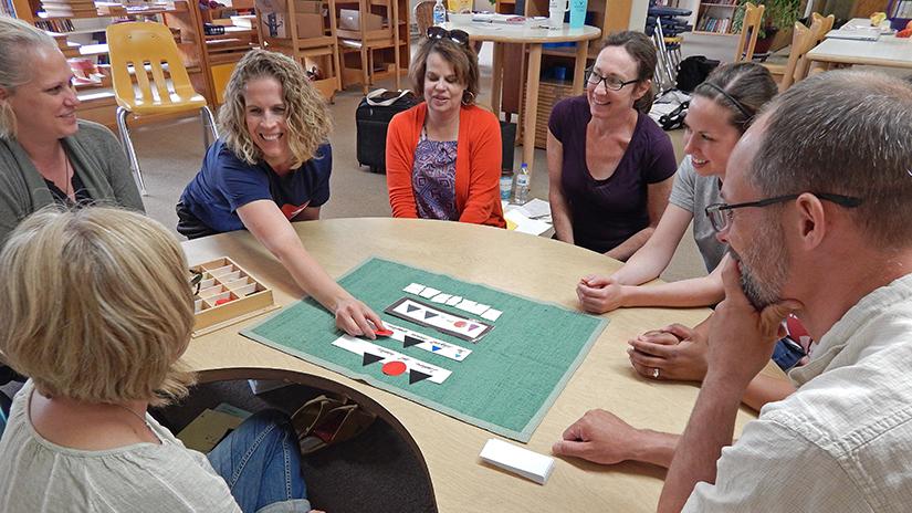 Photo of Montessori classroom, E2 Language Class 6-21-18 UWRF E2 Montessori Language class in session at River Falls Academy