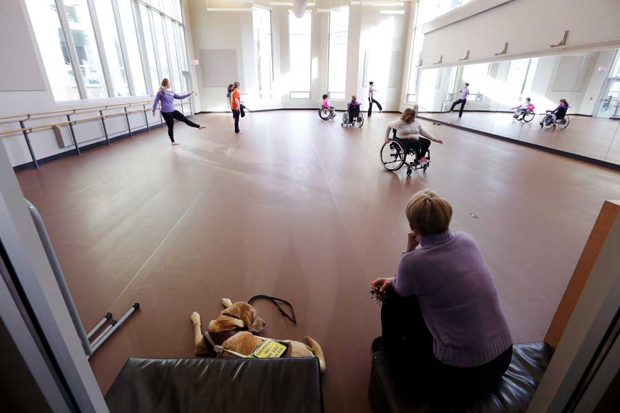 """Photo of Professor Barb Grubel, foreground, surveying a rehearsal in her contemporary dance class for sit-down (wheelchair) and stand-up dancers. Grubel sat alongside """"Victor,"""" a service dog belonging to dancer Elizabeth Fideler."""
