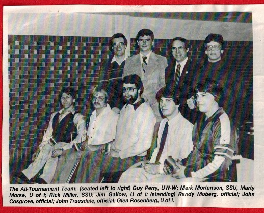 Photo of John Truesdale, back row, second from right, who was a force behind wheelchair athletics and the Center for Students with Disabilities in the 1970s. (Clipping courtesy of UW-Whitewater Wheelchair Athletics)