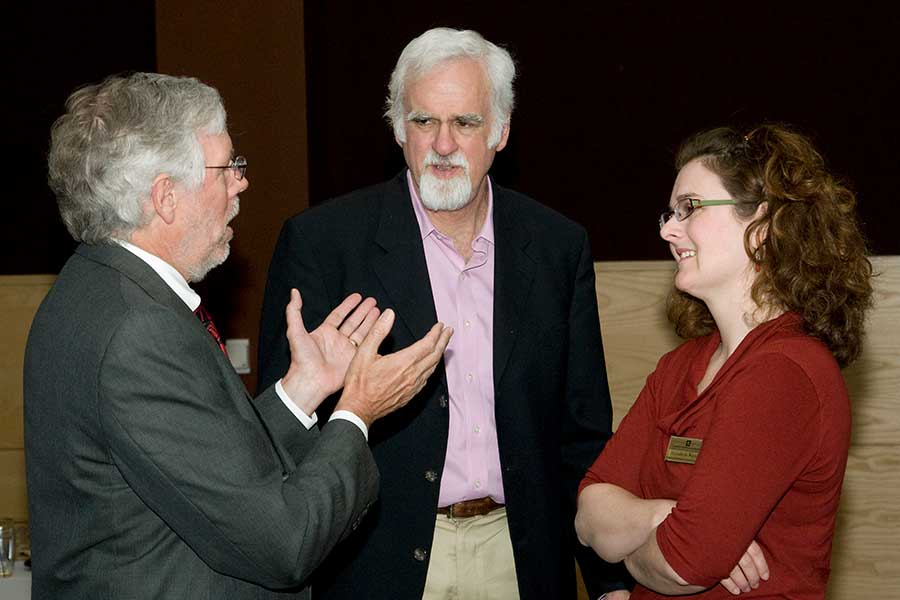 Photo of, from left, Dick Telfer, then chancellor, Jim Winship, a professor of social work, and Elizabeth Watson from the Center for Students with Disabilities on April 21, 2012.