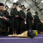 Photo of service dog at UW-Whitewater commencement